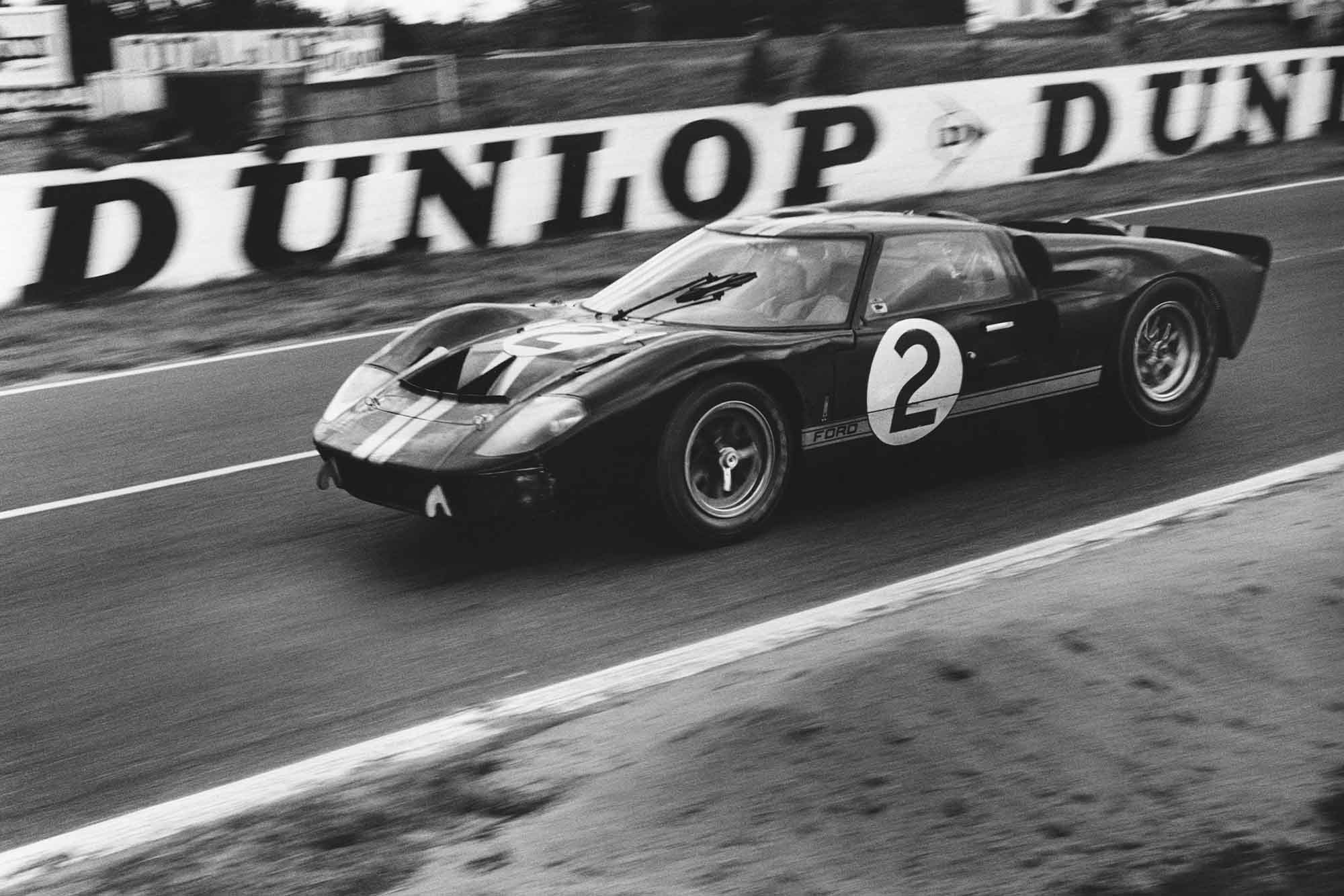 Ford GT40 MkII of Chris Amon/Bruce McLaren on its way to victory at 1966 Le Mans