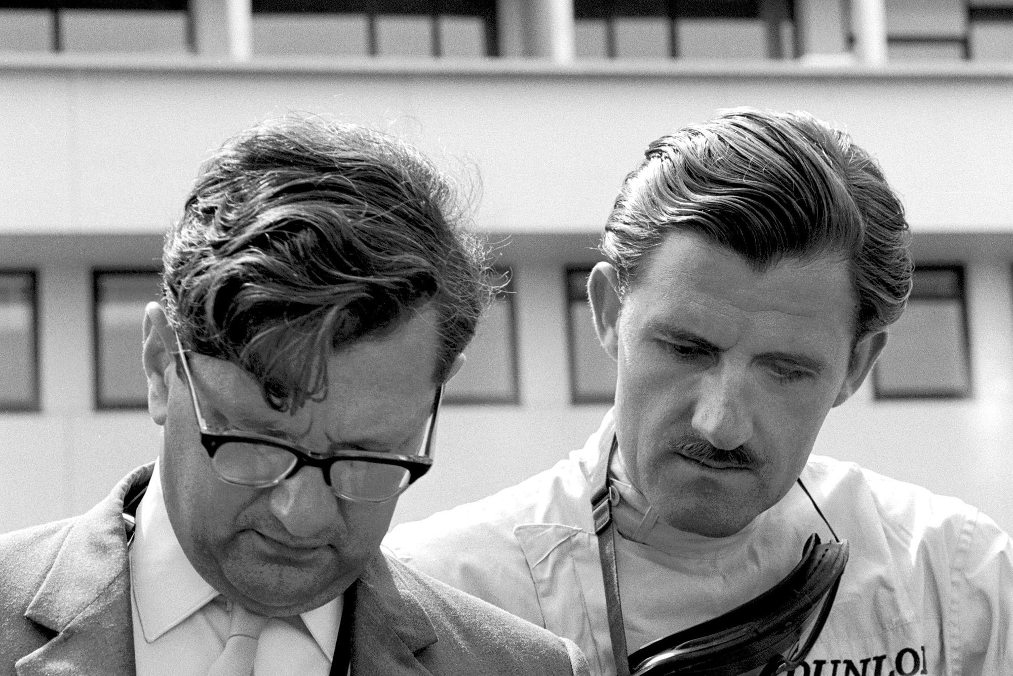 BRM's Graham Hill and Tony Rudd prepare for the race