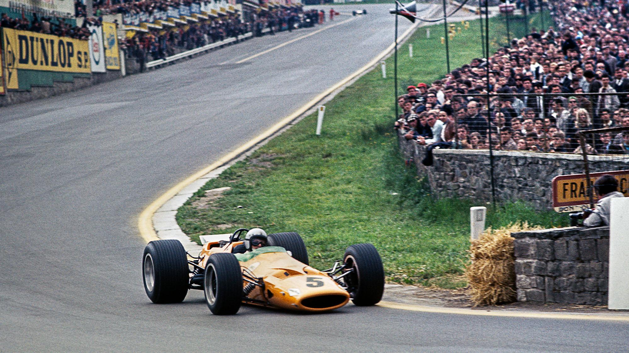 Bruce McLaren at eau Rouge during the 1968 Belgian Grand prix