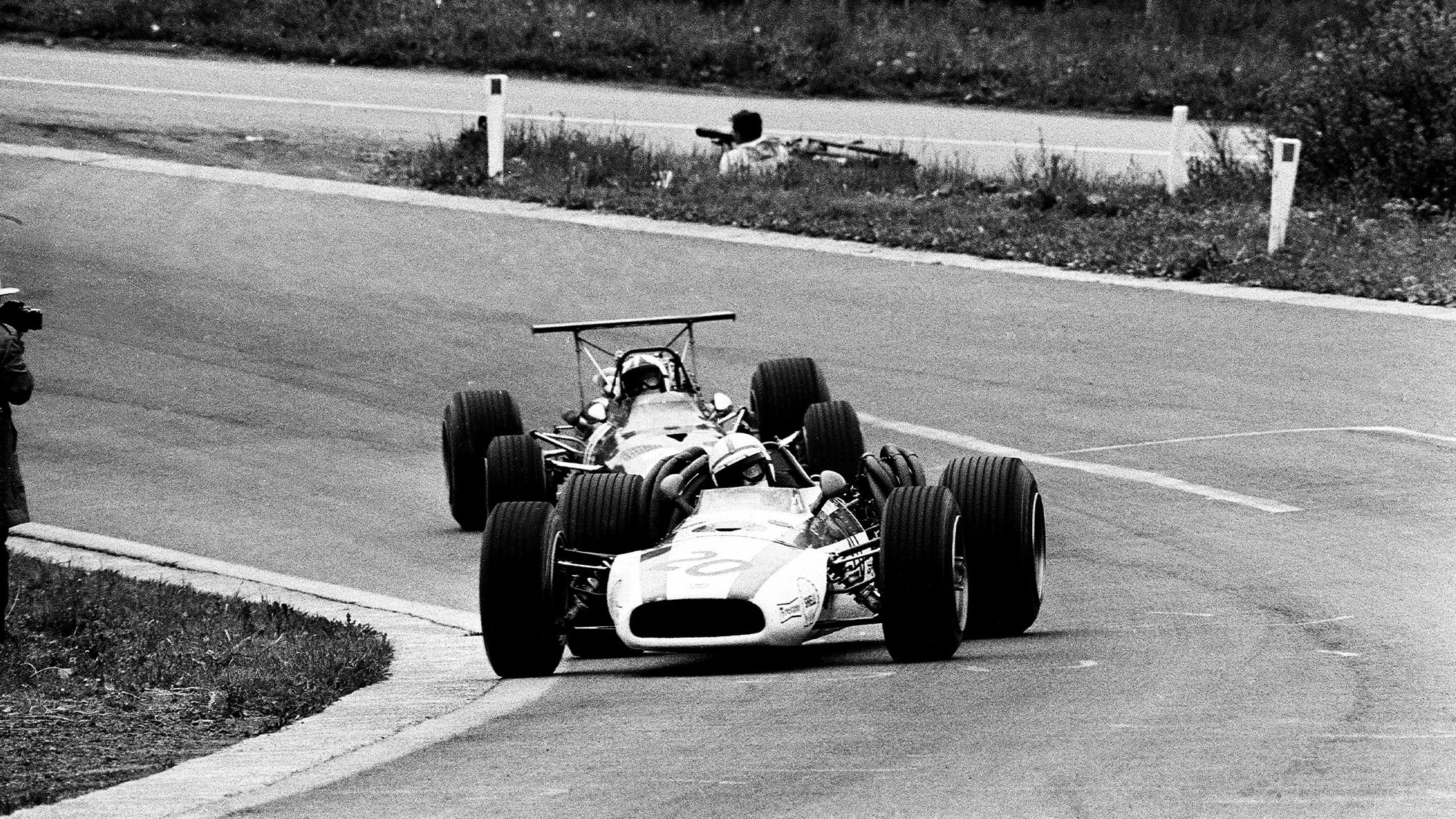 John Surtees defends at Spa Francorchamps during the 1968 F1 Belgian grand prix