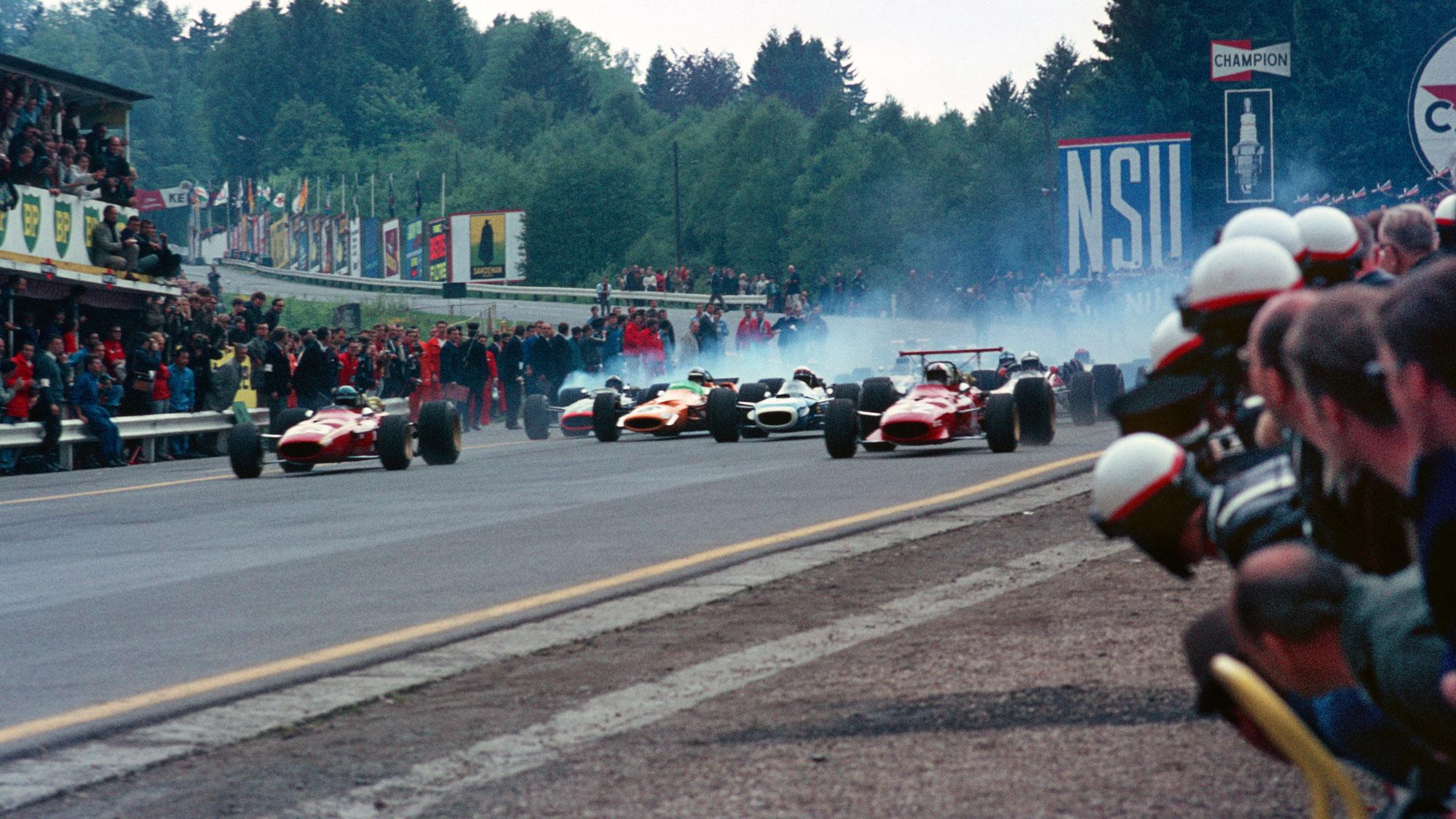 Start of the 1968 F1 Belgian Grand prix