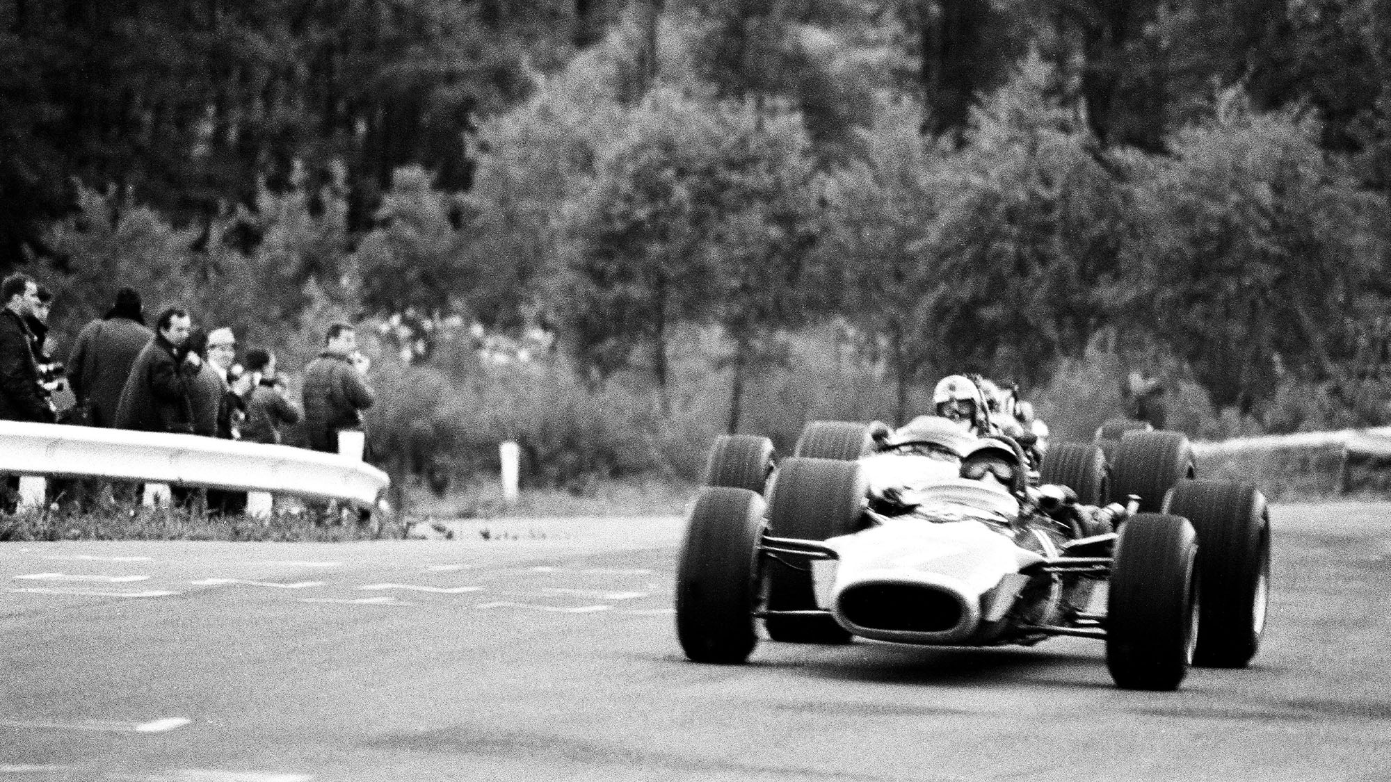 Jackie Stewart in a Matra MS10 at Spa Francorchamps during the 1968 Belgian Grand prix