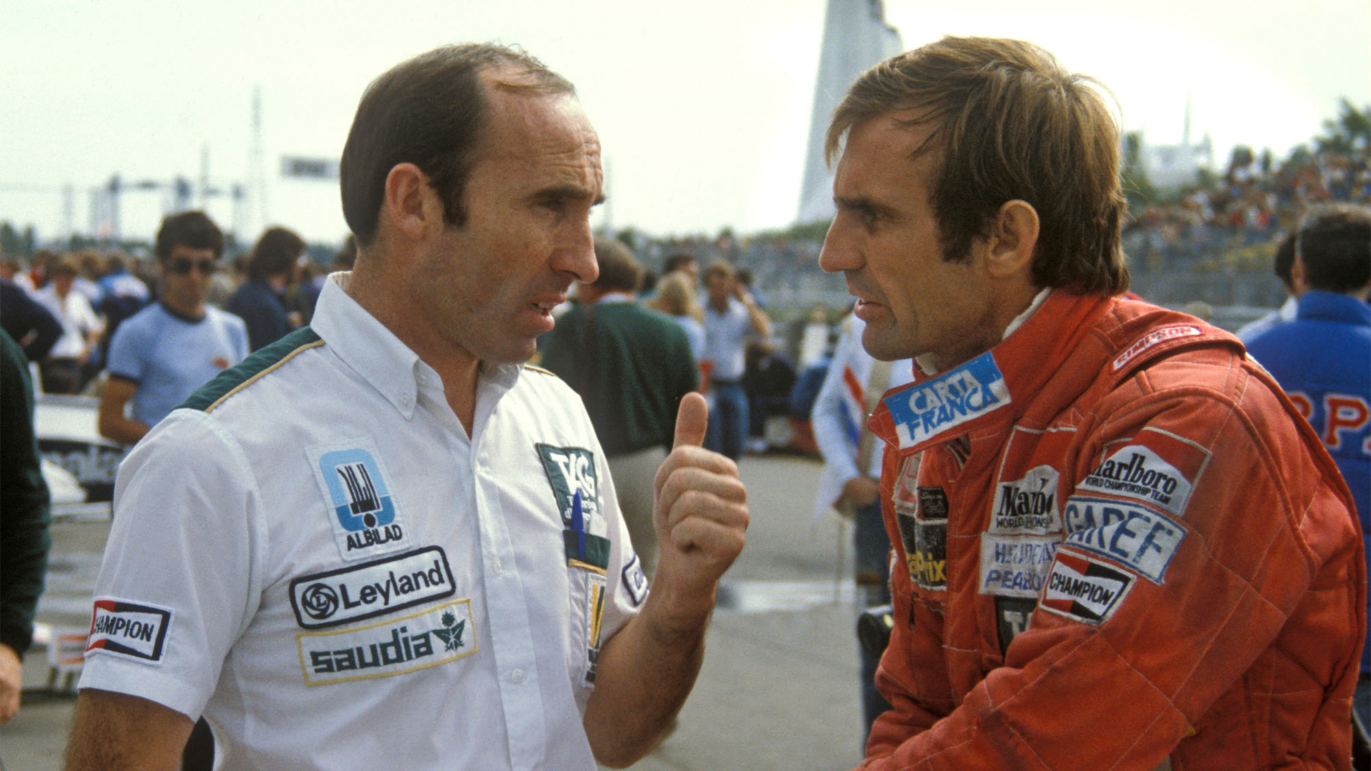 Team Principal Frank Williams and Carlos Reutemann (Williams-Ford) before the 1981 Canadian Grand Prix in Montreal. Photo: Grand Prix Photo