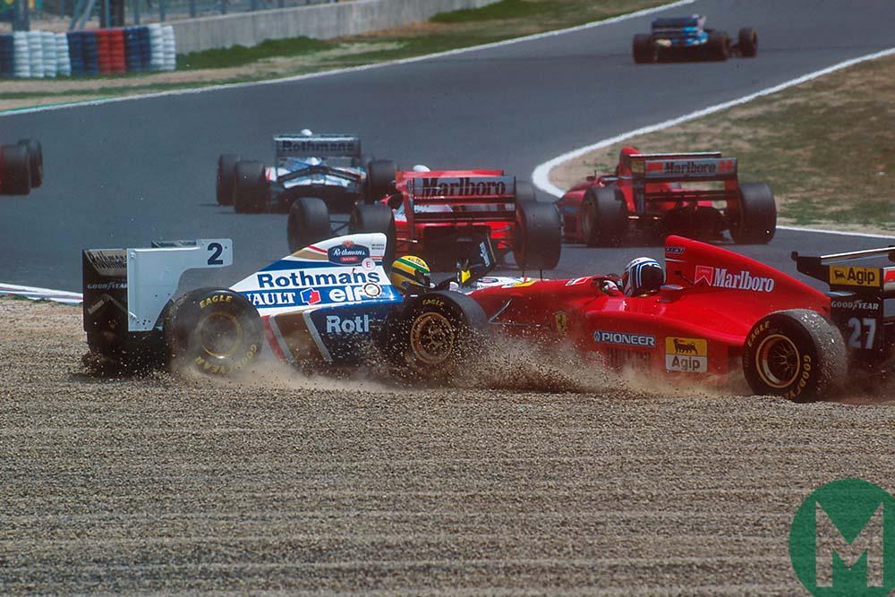 Ayrton Senna and Nicola Larini collide at the 1994 Pacific Grand Prix in Japan