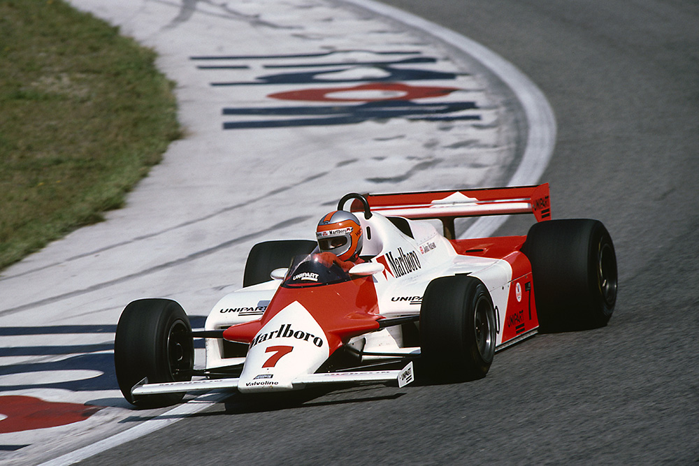 John Watson at the wheel of a McLaren MP4/1-Ford Cosworth.