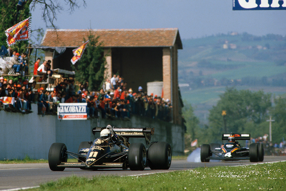 Elio de Angelis in a Lotus 95T-Renault 3rd position leads Stefan Bellof in his Tyrrell 012 Ford.