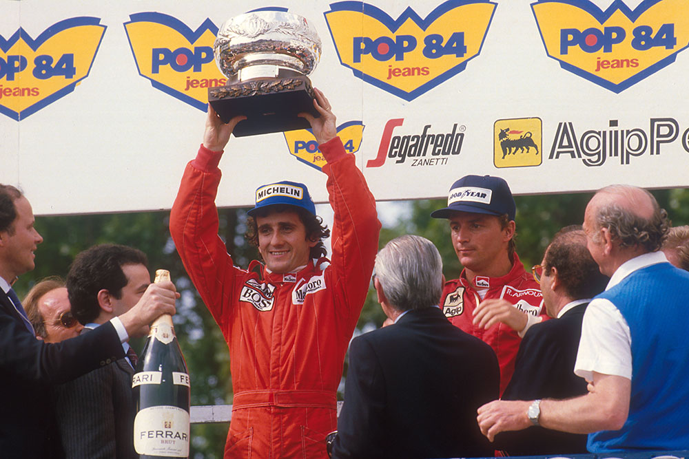 Alain Prost, 1st position and Rene Arnoux, 2nd position on the podium.