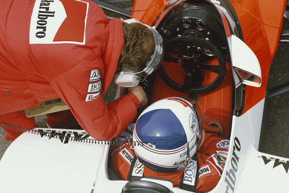 Alain Prost in the cockpit of his McLaren MP4/2-TAG Porsche.
