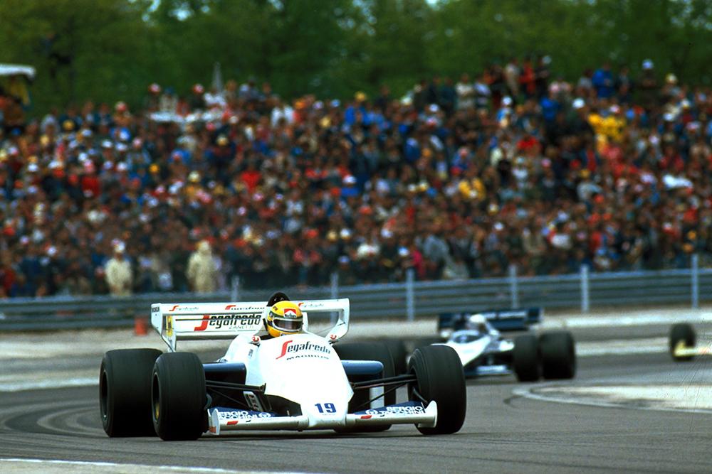 Ayrton Senna at the wheel of his Toleman TG184, but did not finish.