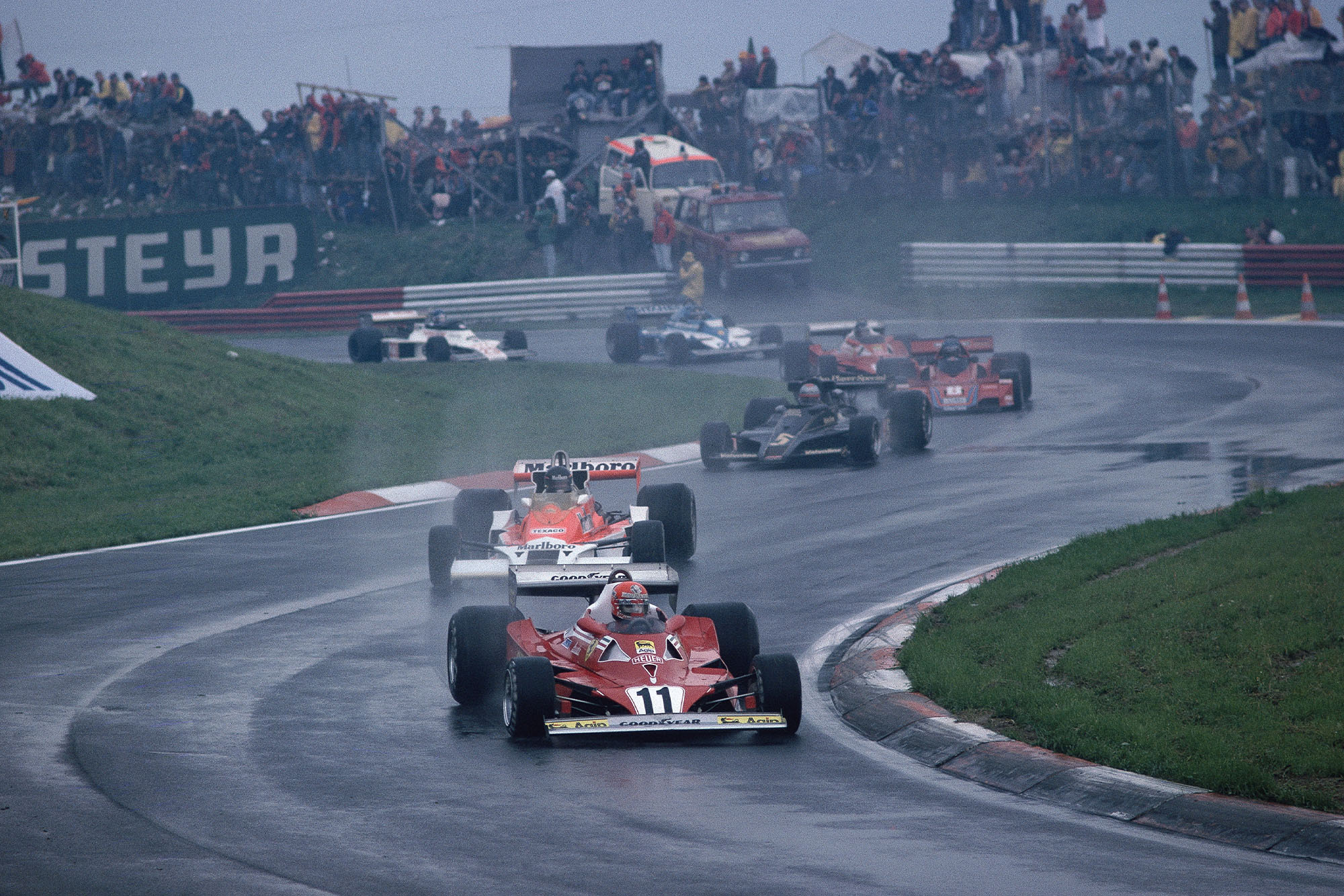 Niki Lauda (Ferrari) leads at the start of the 1977 Austrian Grand Prix, Österreichring.