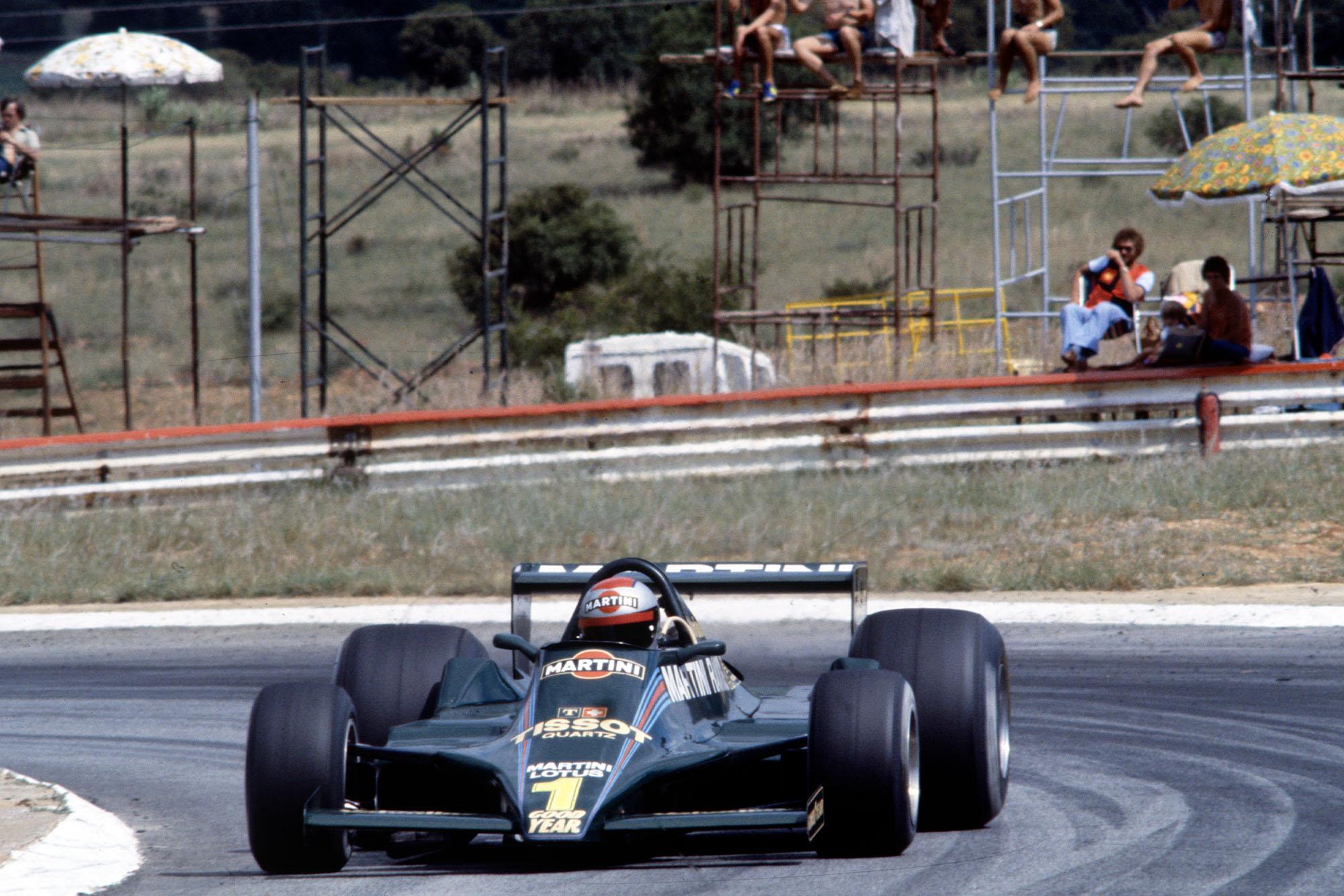 Mario Andretti (Lotus) driving at the 1979 South African Grand Prix, Kyalami.