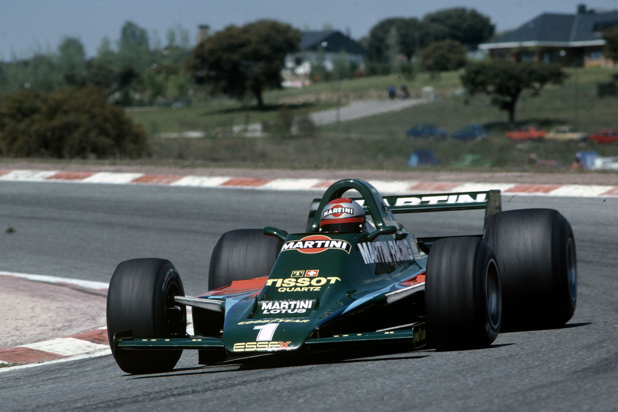 Mario Andretti (Lotus) driving at the 1979 Spanish Grand Prix, Jarama.