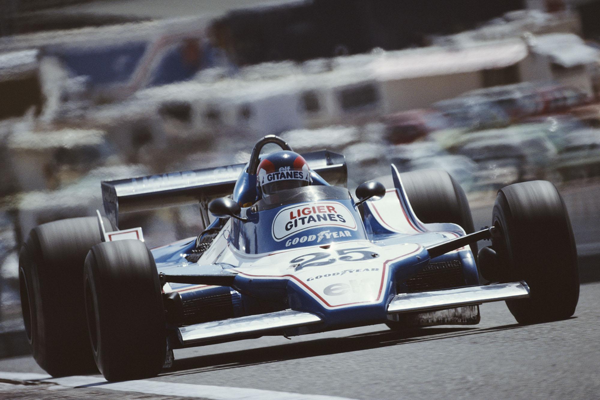 Patrick Depailler (Ligier) driving at the 1979 Spanish Grand Prix, Jarama.
