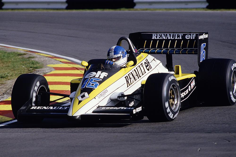 Derek Warwick driving his Renault RE60B.