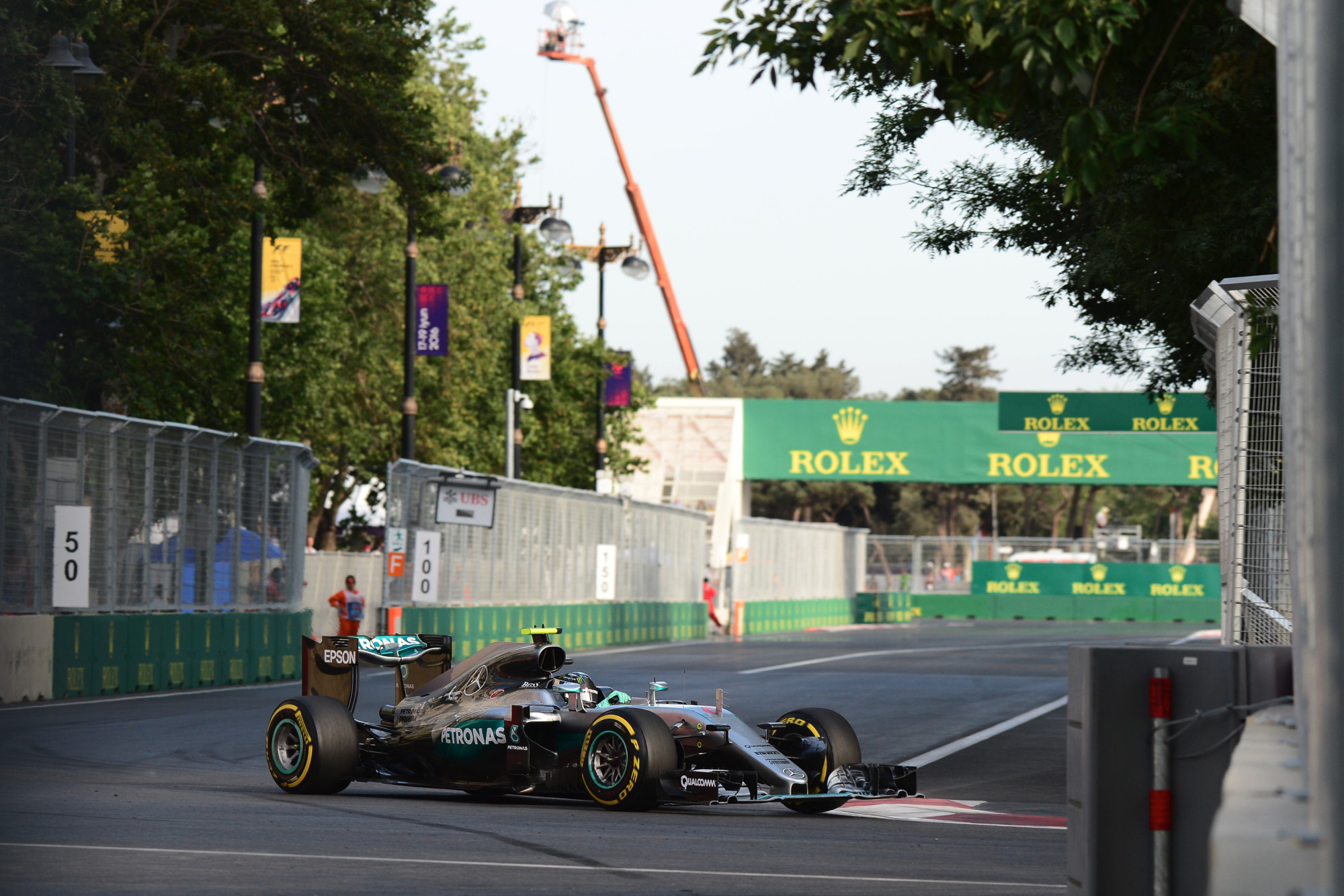 Nico Rosberg leading the European GP