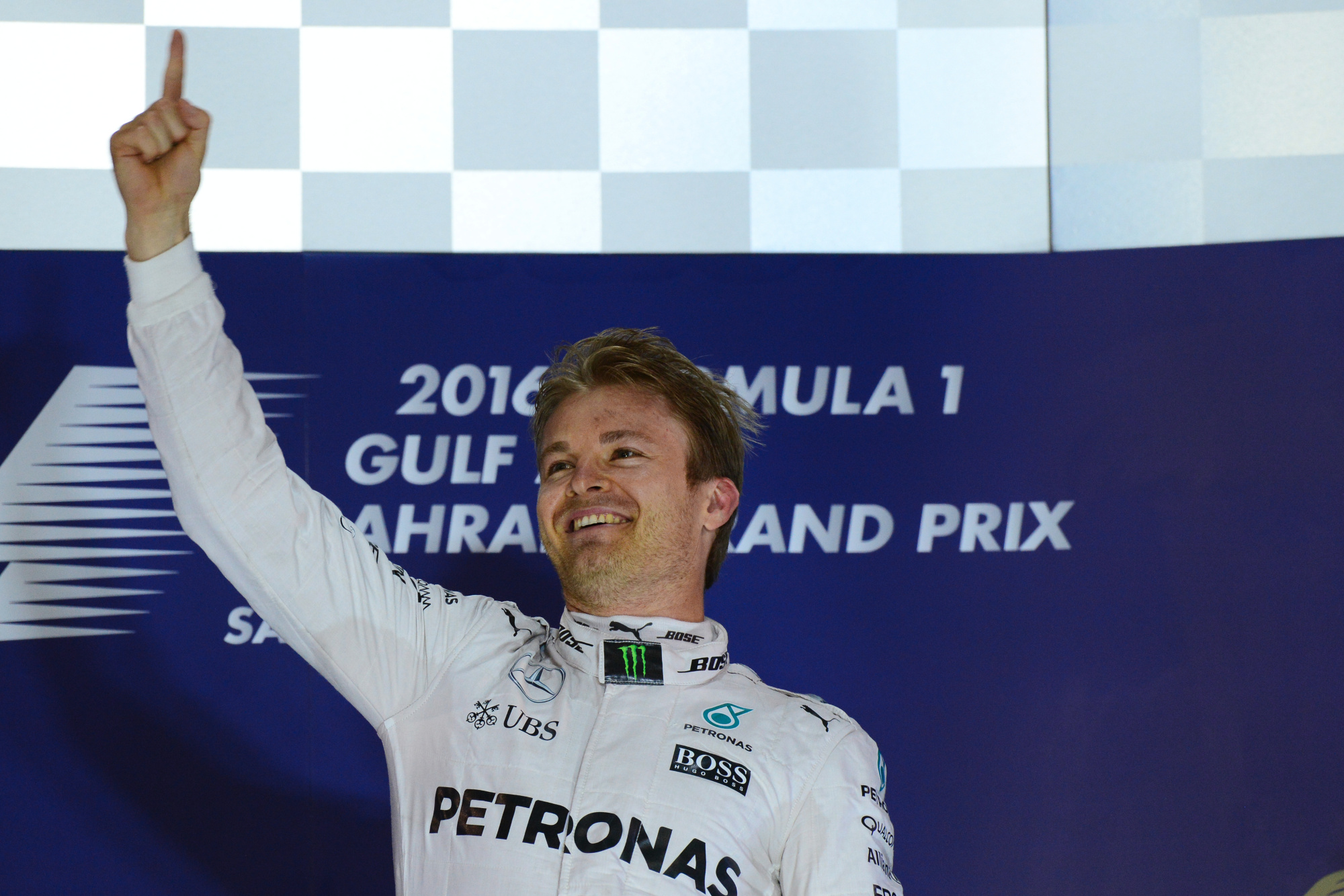 Nico Rosberg celebrates in Bahrain