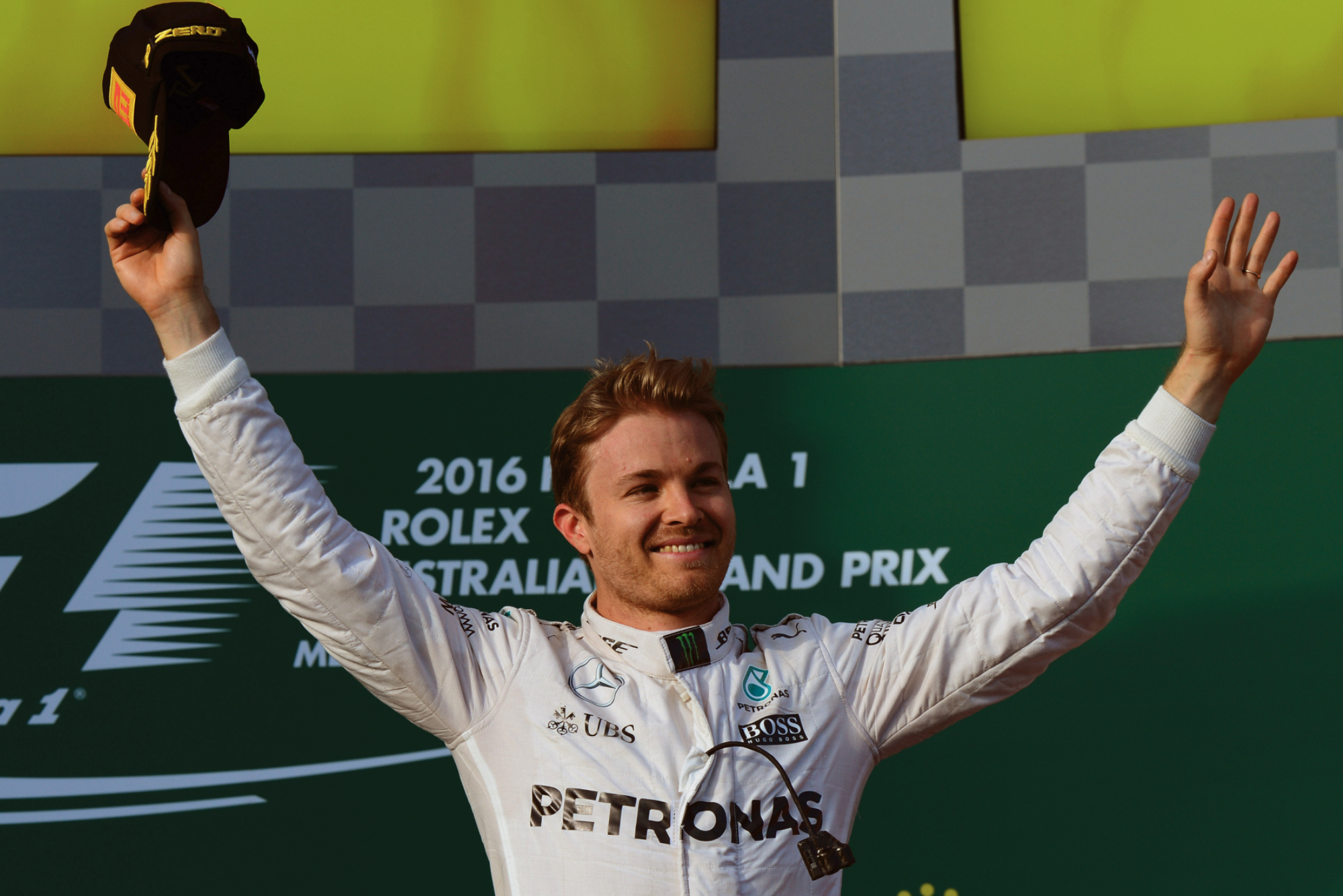 Nico Rosberg celebrates his win in Melbourne