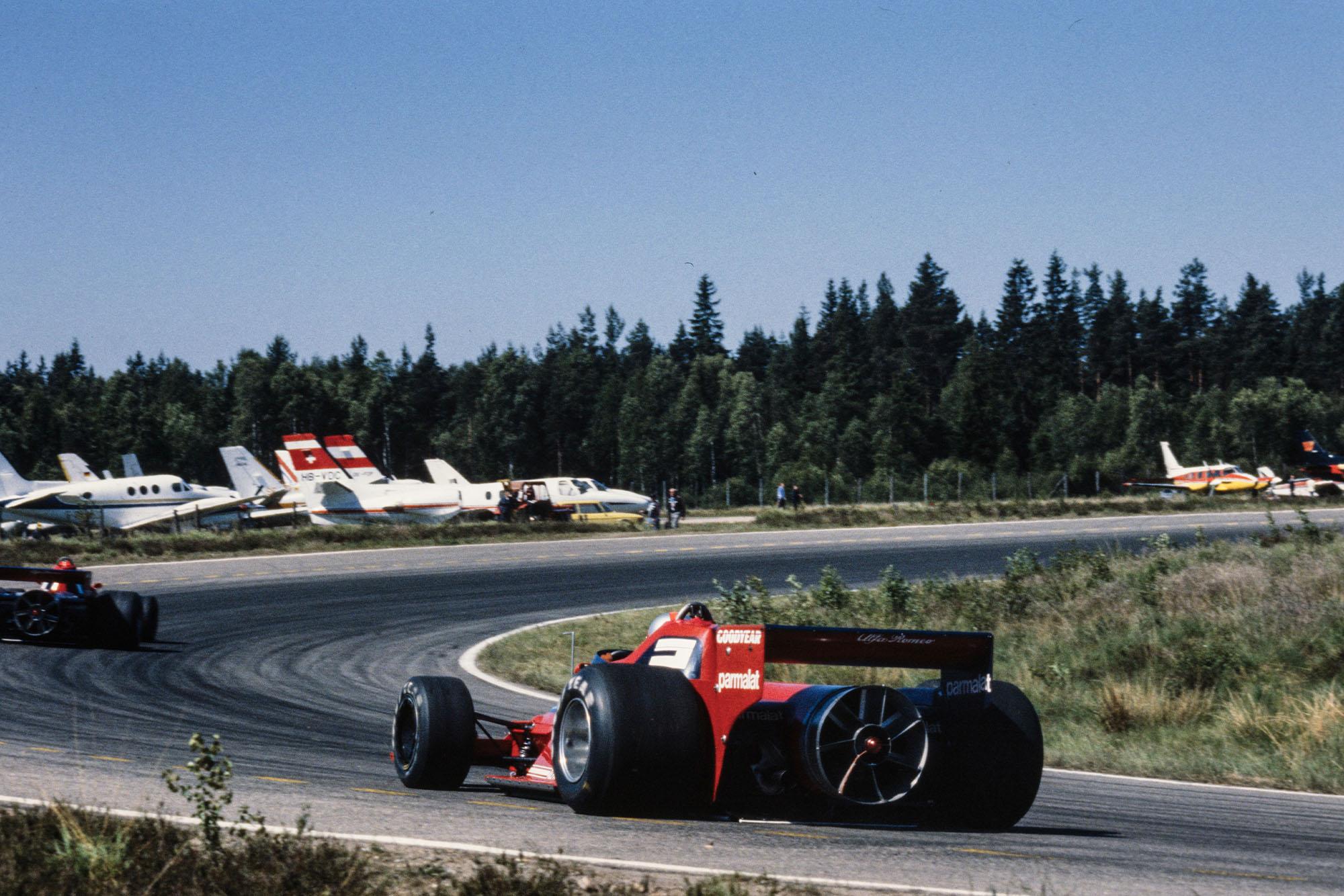 Niki Lauda leads Brabham team-mate at the 1978 Swedish Grand Prix, AnderstorpJohn Watson