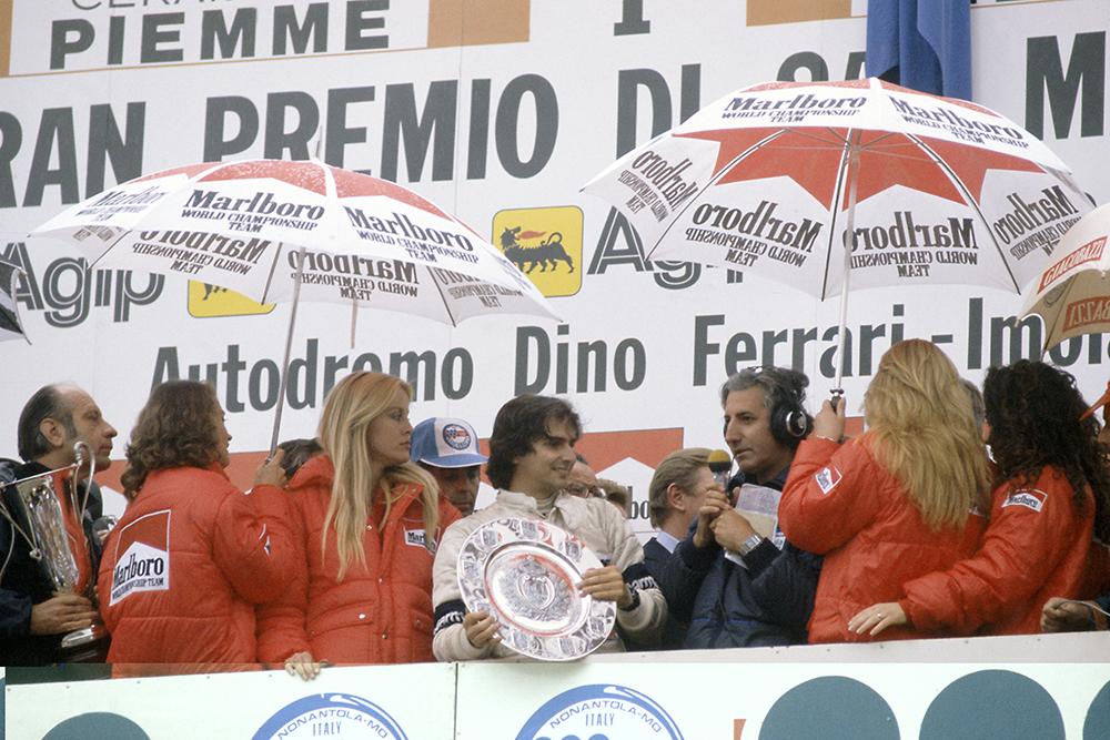 Nelson Piquet on the podium.