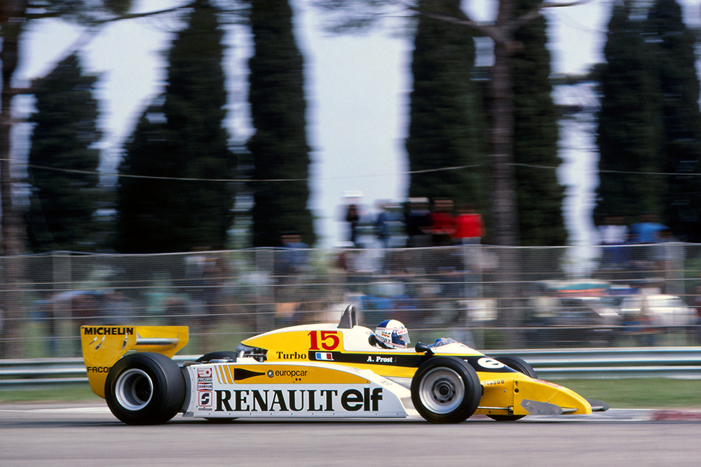 Alain Prost in his Renault RE20, retired with gearbox failure.