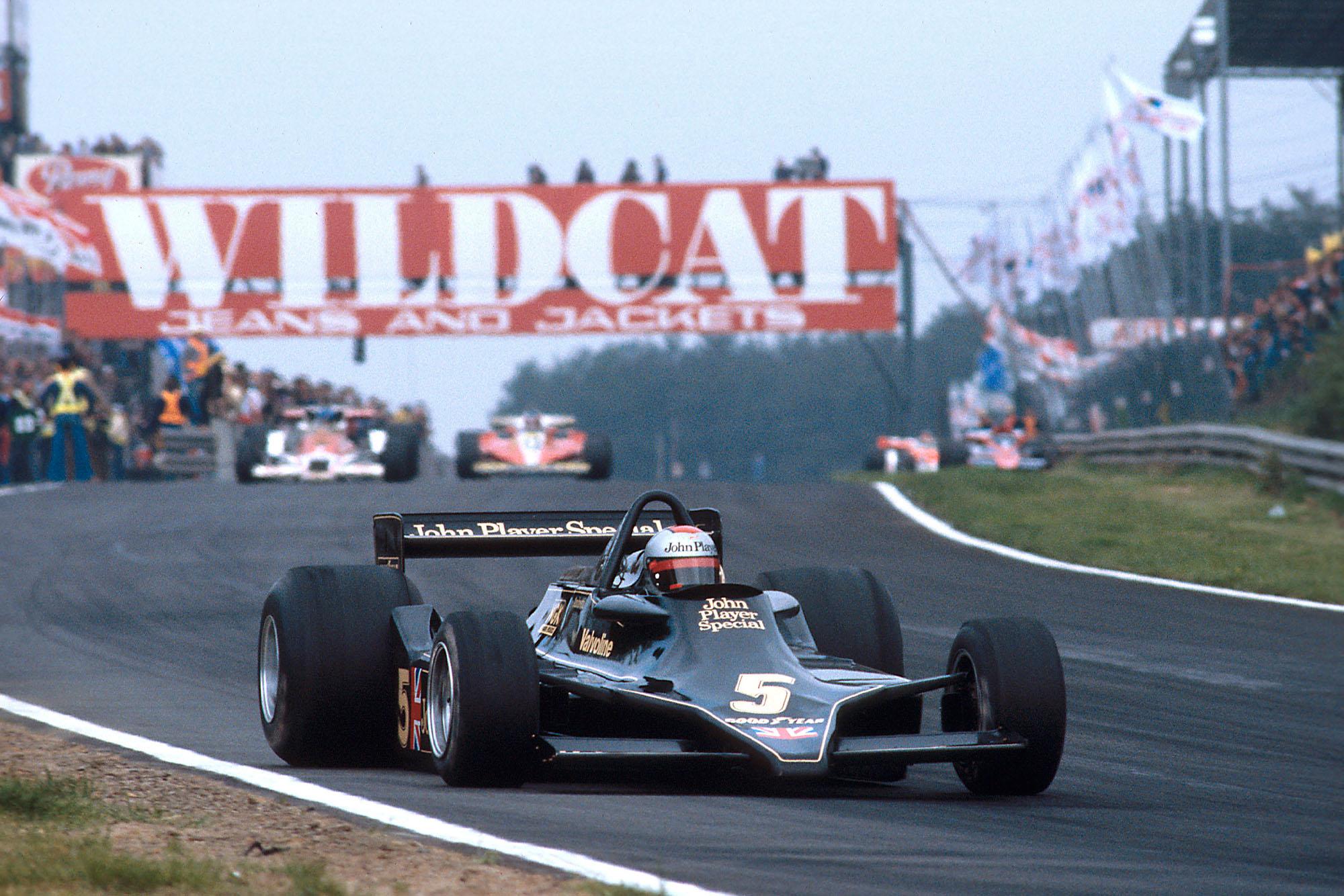 Mario Andretti (Lotus) driving at the 1978 Belgian Grand Prix, Zolder.