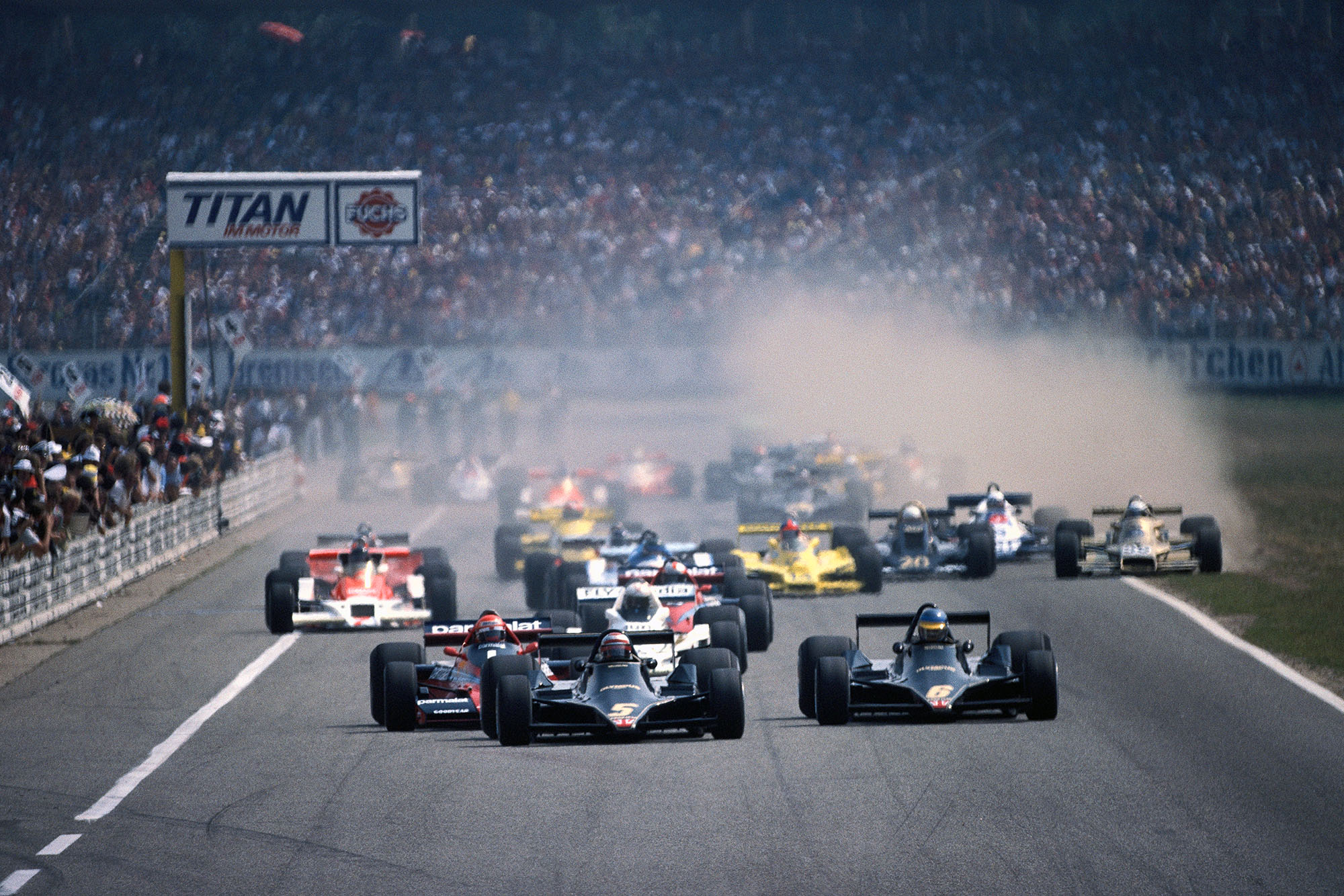 The 1977 German Grand Prix gets underway as the cars leave the grid, Hockenheim.