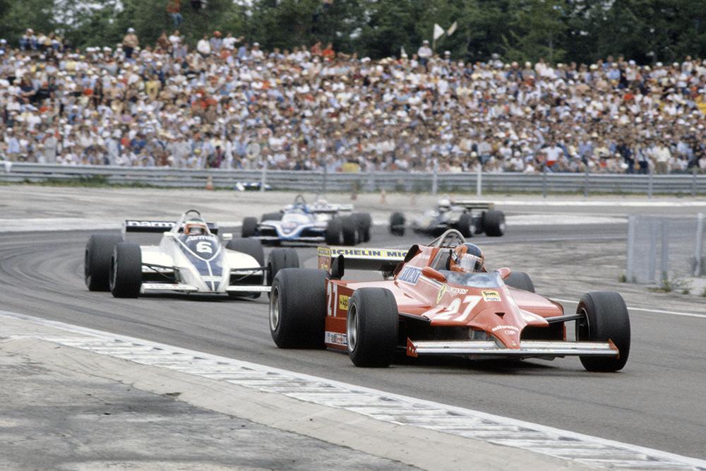 Gilles Villeneuve (Ferrari 126CK) leads Hector Rebaque (Brabham BT49C-Ford Cosworth), Jacques Laffite (Ligier JS17-Matra) and Elio de Angelis (Lotus 87-Ford Cosworth).