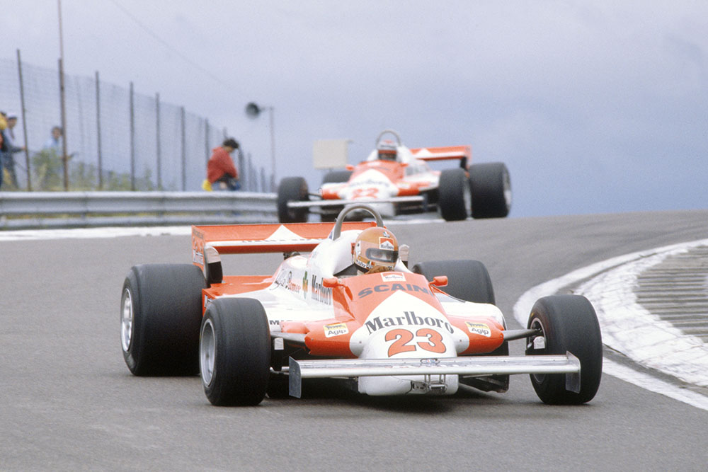 Bruno Giacomelli leads Mario Andretti (both Alfa Romeo 179B). They finished in 15th and 8th position respectively.