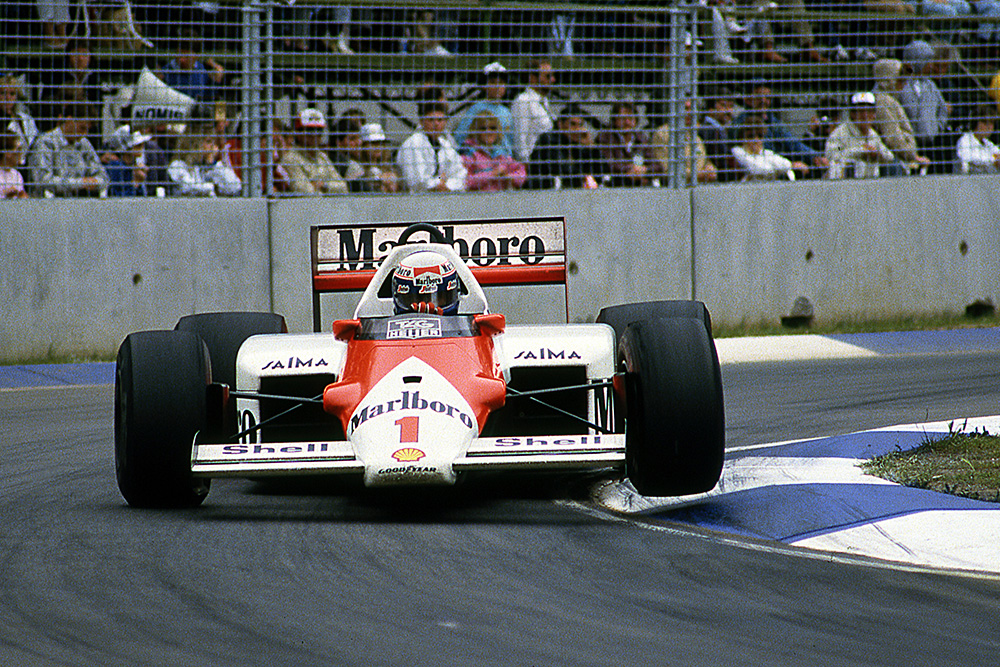 Alain Prost in his Mclaren MP4-2B.
