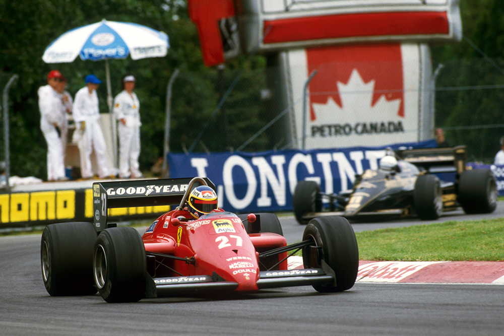 Race winner Michele Alboreto in his Ferrari 156/85.