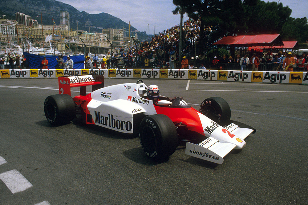 Alain Prost in his McLaren MP4/2B TAG Porsche.