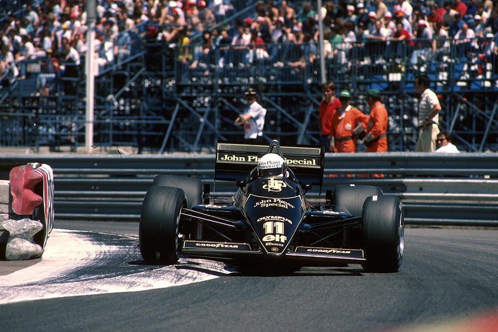 Elio De Angelis at the wheel of his Lotus 97T.