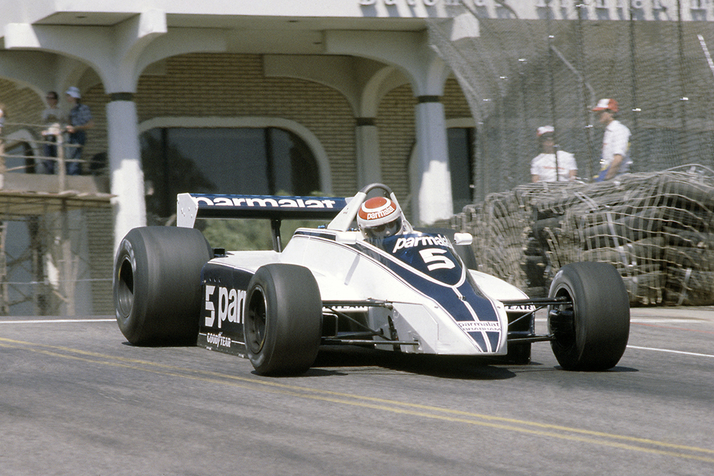 Nelson Piquet in his Brabham BT49-Ford Cosworth, he went on to claim 1st position.