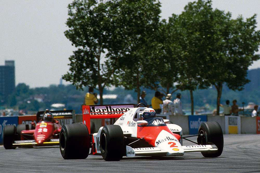 Alain Prost driving a McLaren TAG MP4/2B later retired.