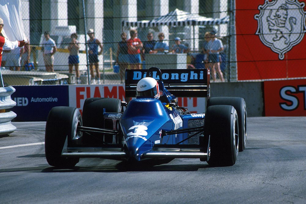 Martin Brundle in his Tyrrell Cosworth 012 crashed out of the race.
