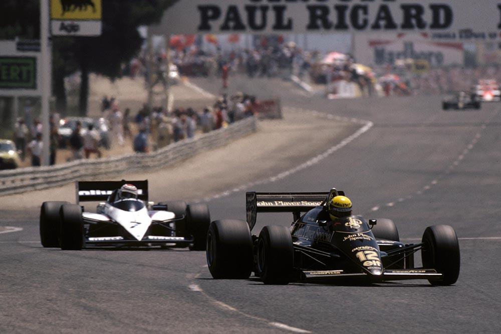 Ayrton Senna (Lotus 97T) leads race winner Nelson Piquet (Brabham BT54).
