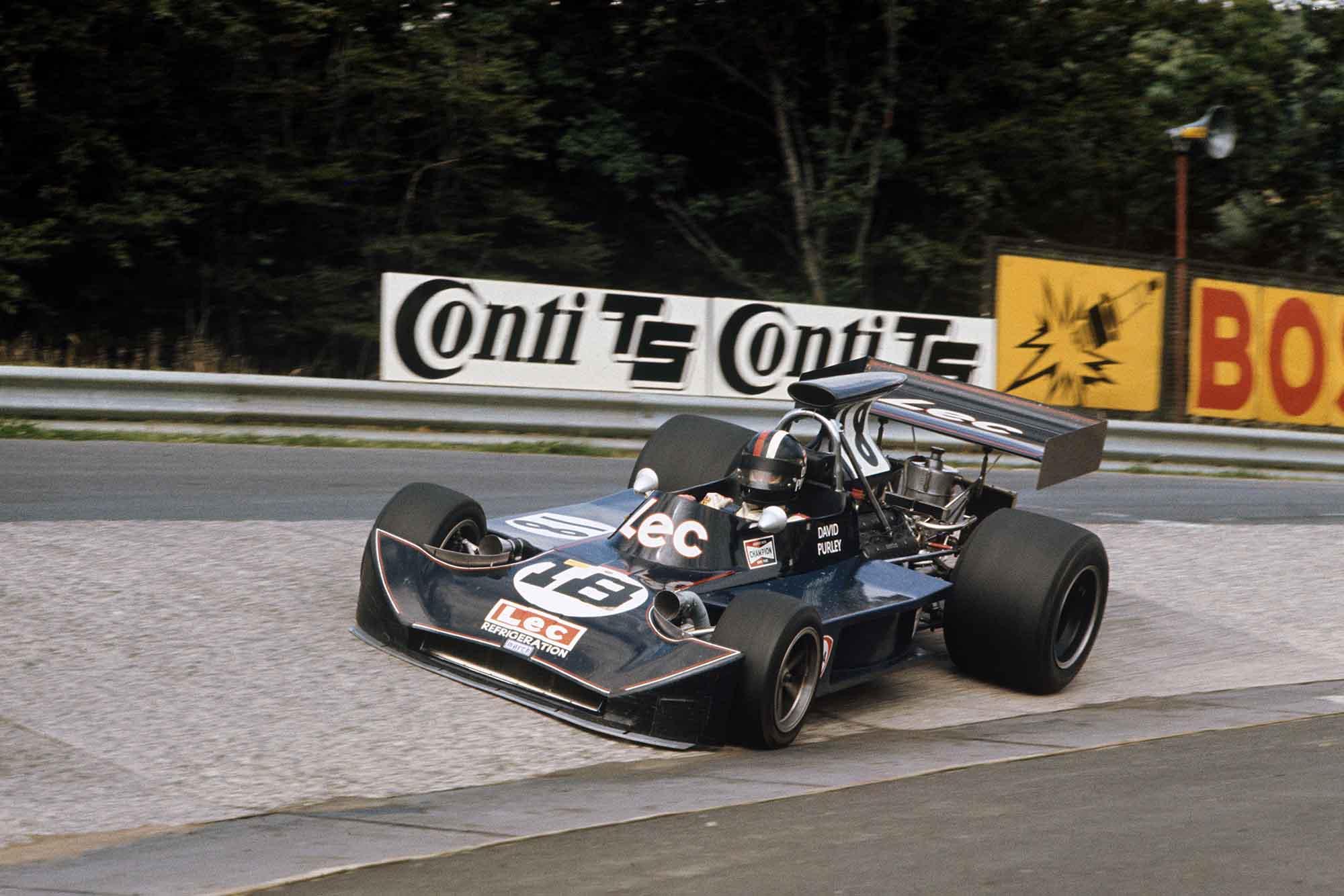 David Purley picks up speed in his Lec-March at the 1973 German Grand Prix Nurburgring Prix
