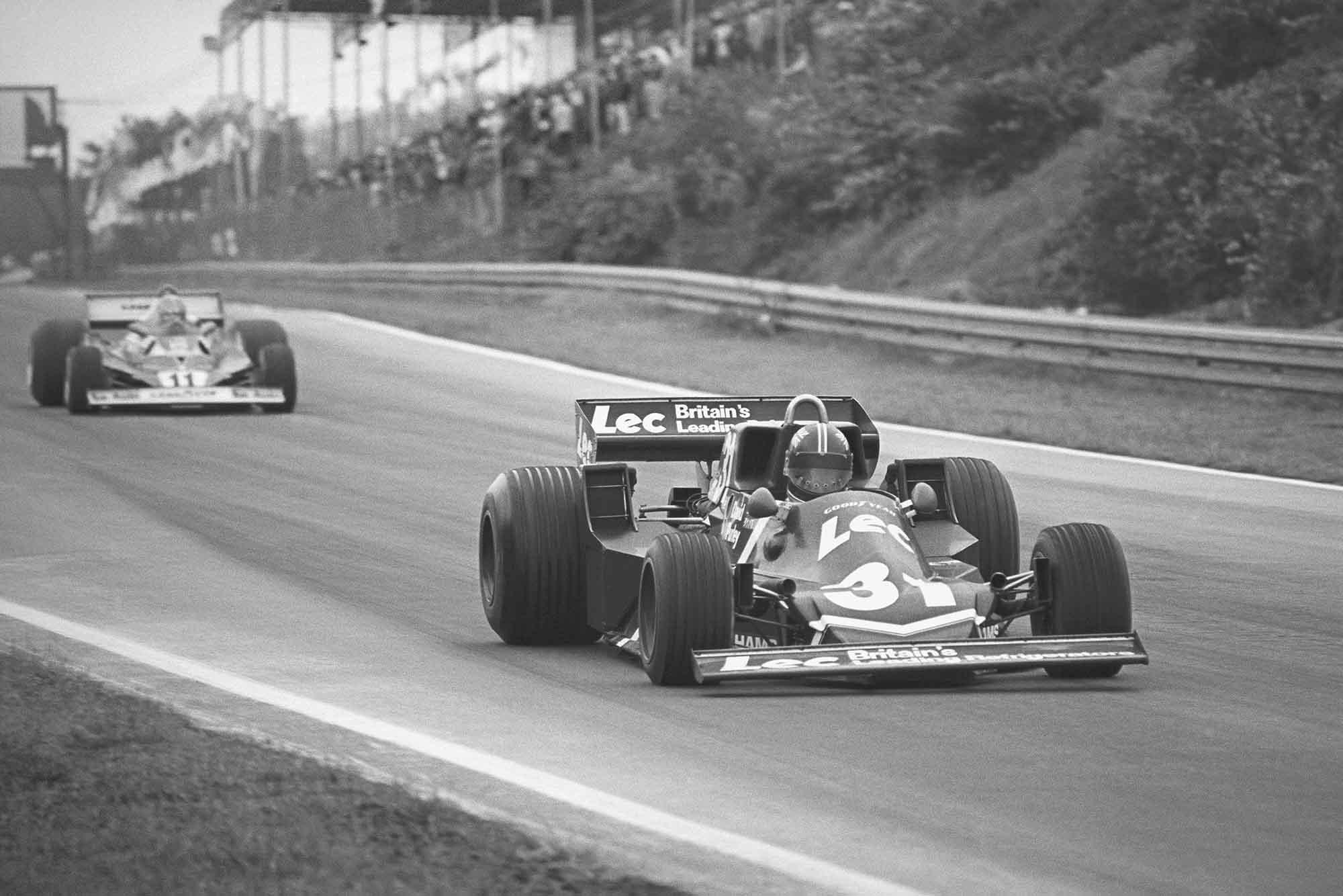 David Purley (LEC CRP1-Ford), 13th position, leads Niki Lauda (Ferrari 312T2), 2nd position at 1977 Belgium Grand Prix Zolder