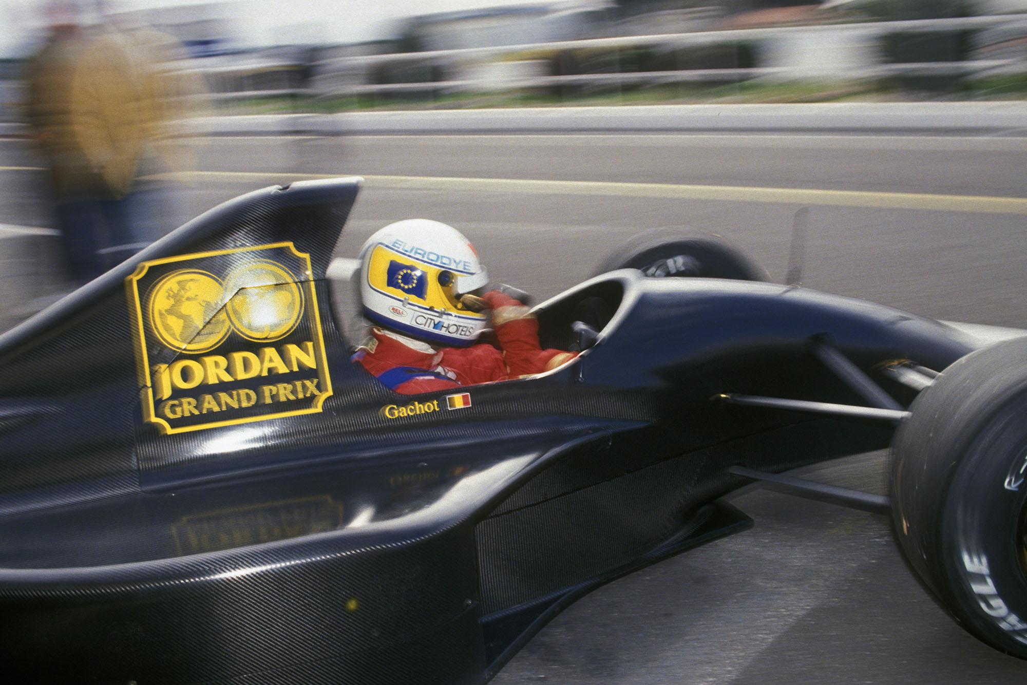 Bertrand Gachot testing the new, unbranded Jordan-Ford in January 1991. Photo: Grand Prix Photo