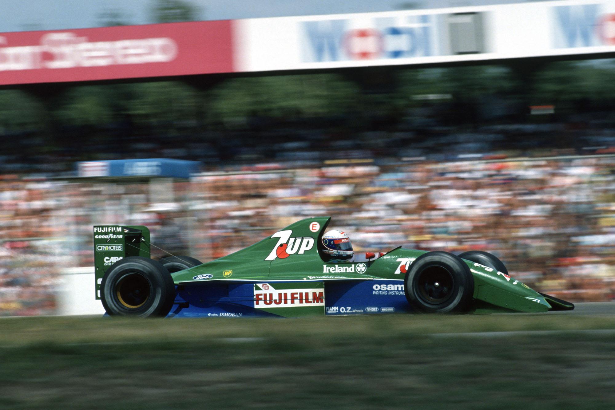 Bertrand Gachot (Jordan-Ford) in the 1991 German Grand Prix at Hockenheim