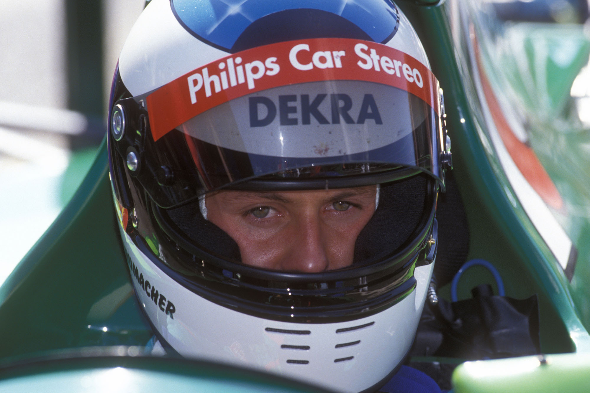 Michael Schumacher in his Jordan-Ford before the start of the 1991 Belgian Grand Prix at Spa-Francorchamps. Photo: Grand Prix Photo