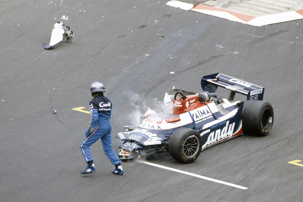 Brian Henton (Toleman TG181-Hart), did not qualify after this accident.