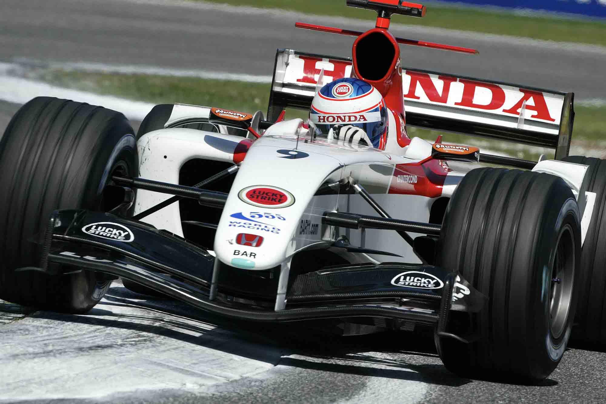 Jenson Button rides the chicane in his BAR-Honda at 2004 San Marino GP