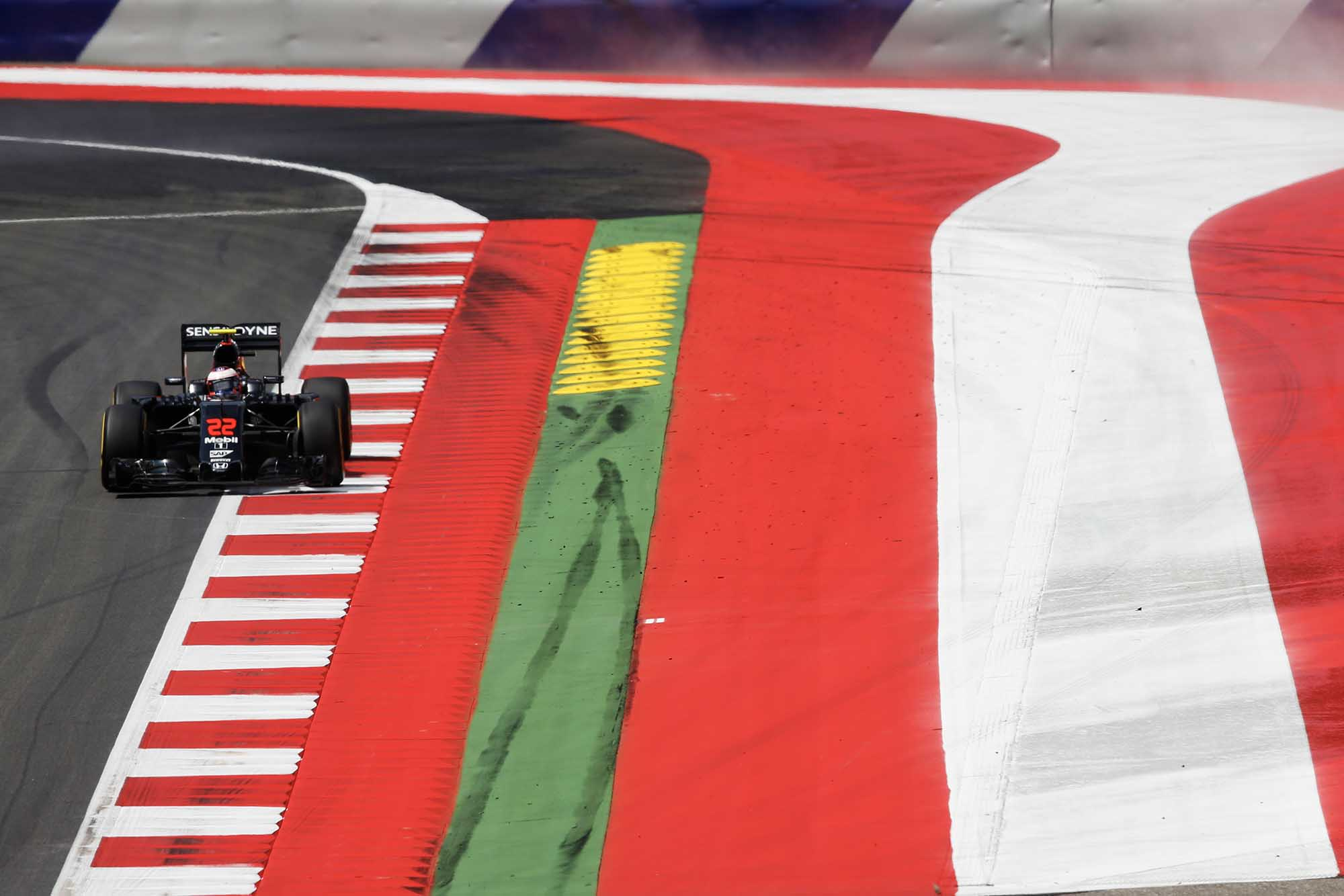 Jenson Button rounds the penultimate corner in his McLaren-Honda during the 2016 Austrian Grand Prix Red Bull Ring