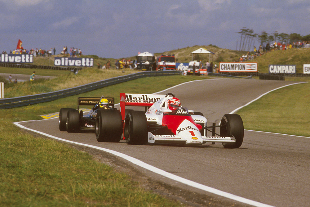 Niki Lauda (McLaren MP4/2B TAG Porsche) 1st position, with Ayrton Senna behind.