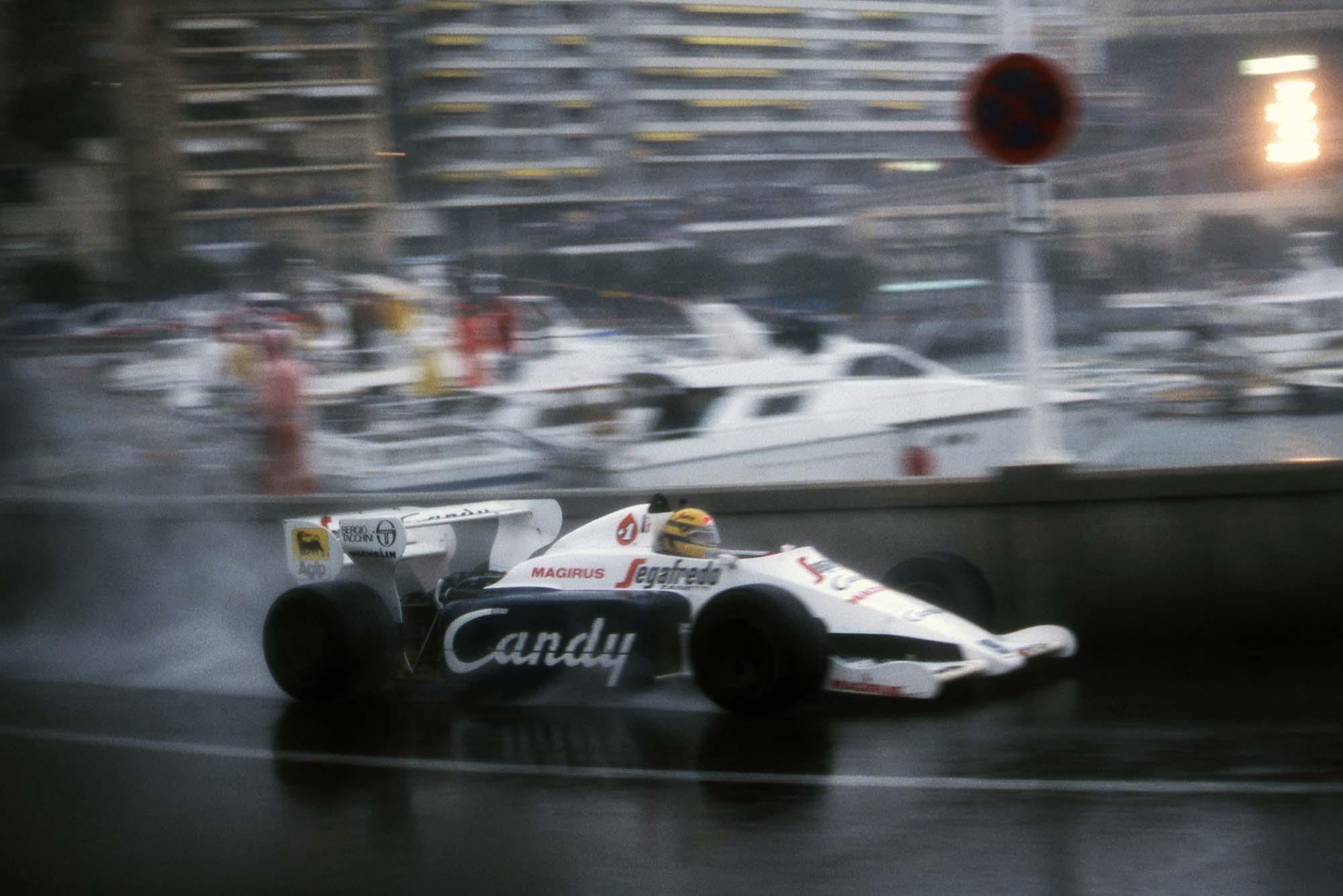 Ayrton Senna threads through the Swimming Pool section at 1984 Monaco GP