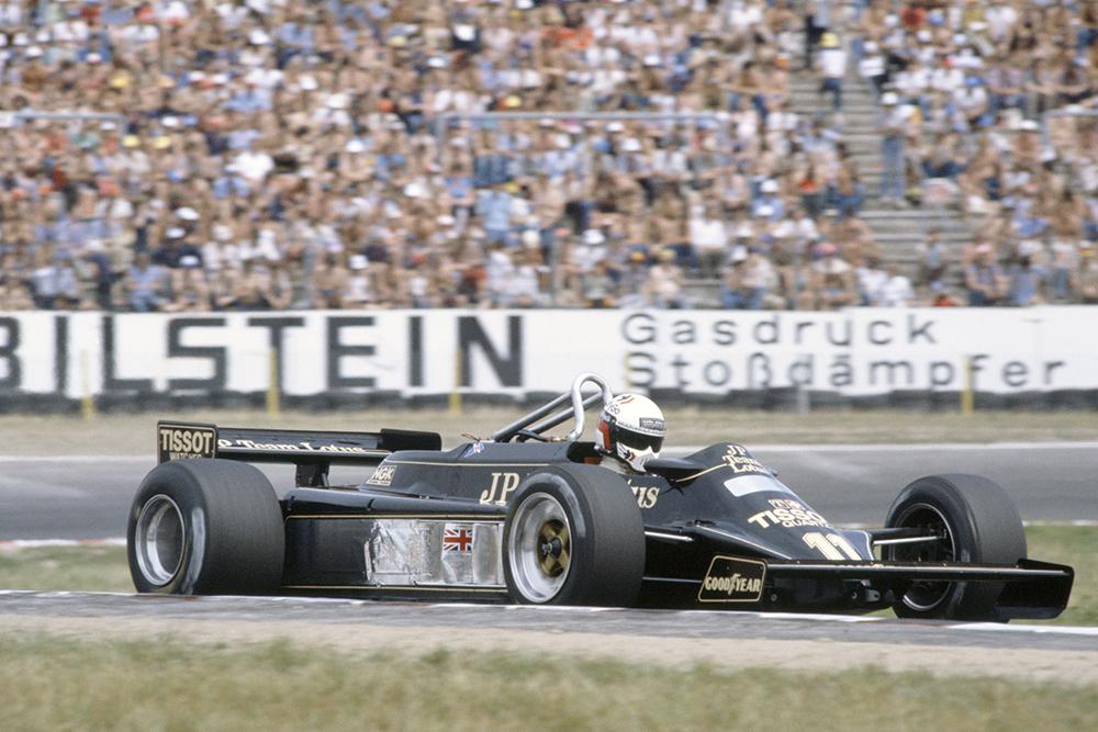 Elio de Angelis in his Lotus 87-Ford Cosworth.