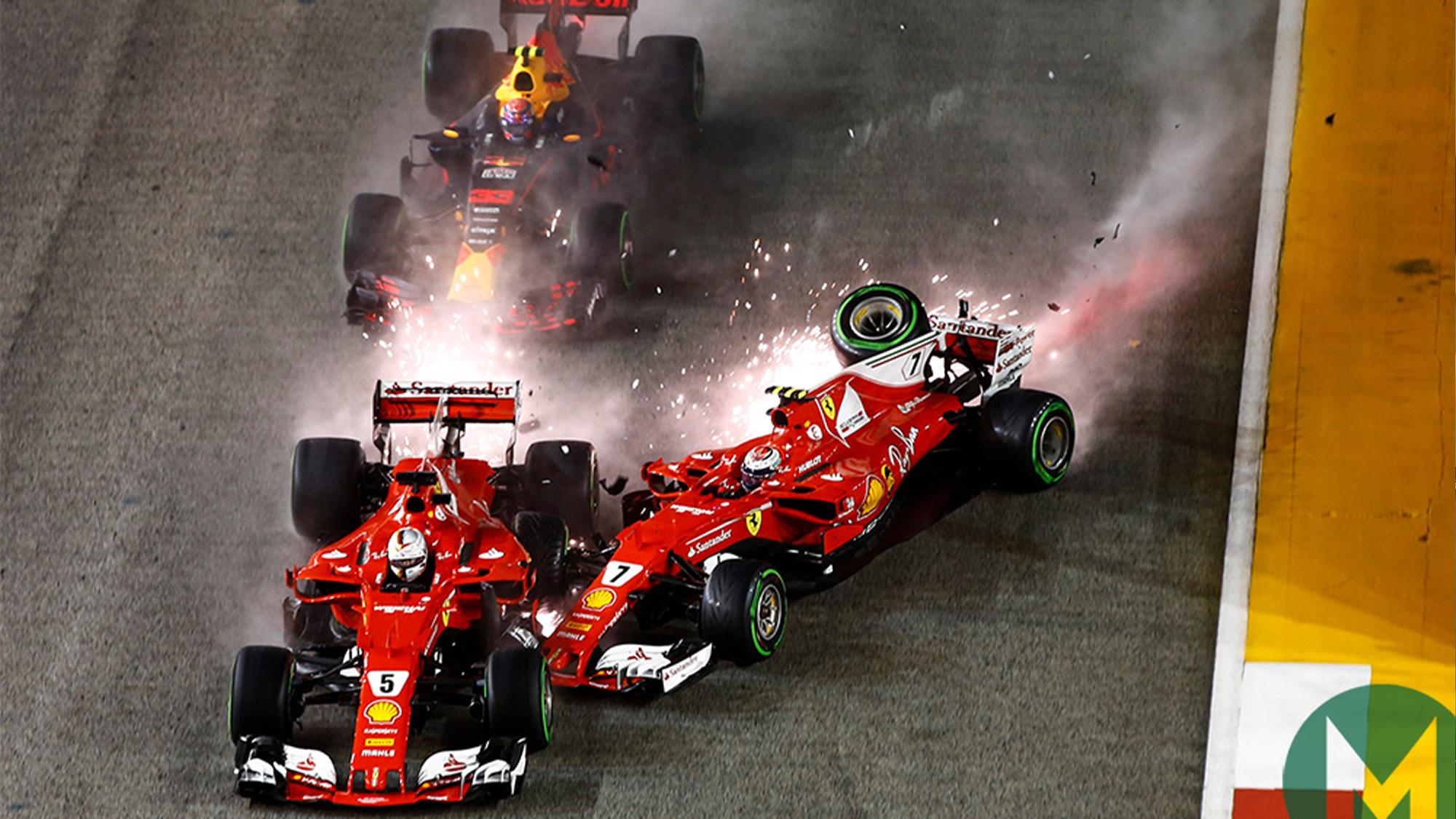 Sebastian Vettel, Kimi Raikkonen and Max Verstappen collide at the 2017 Singapore Grand Prix