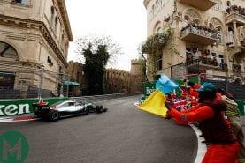 Hamilton wins Azerbaijan GP amid chaos