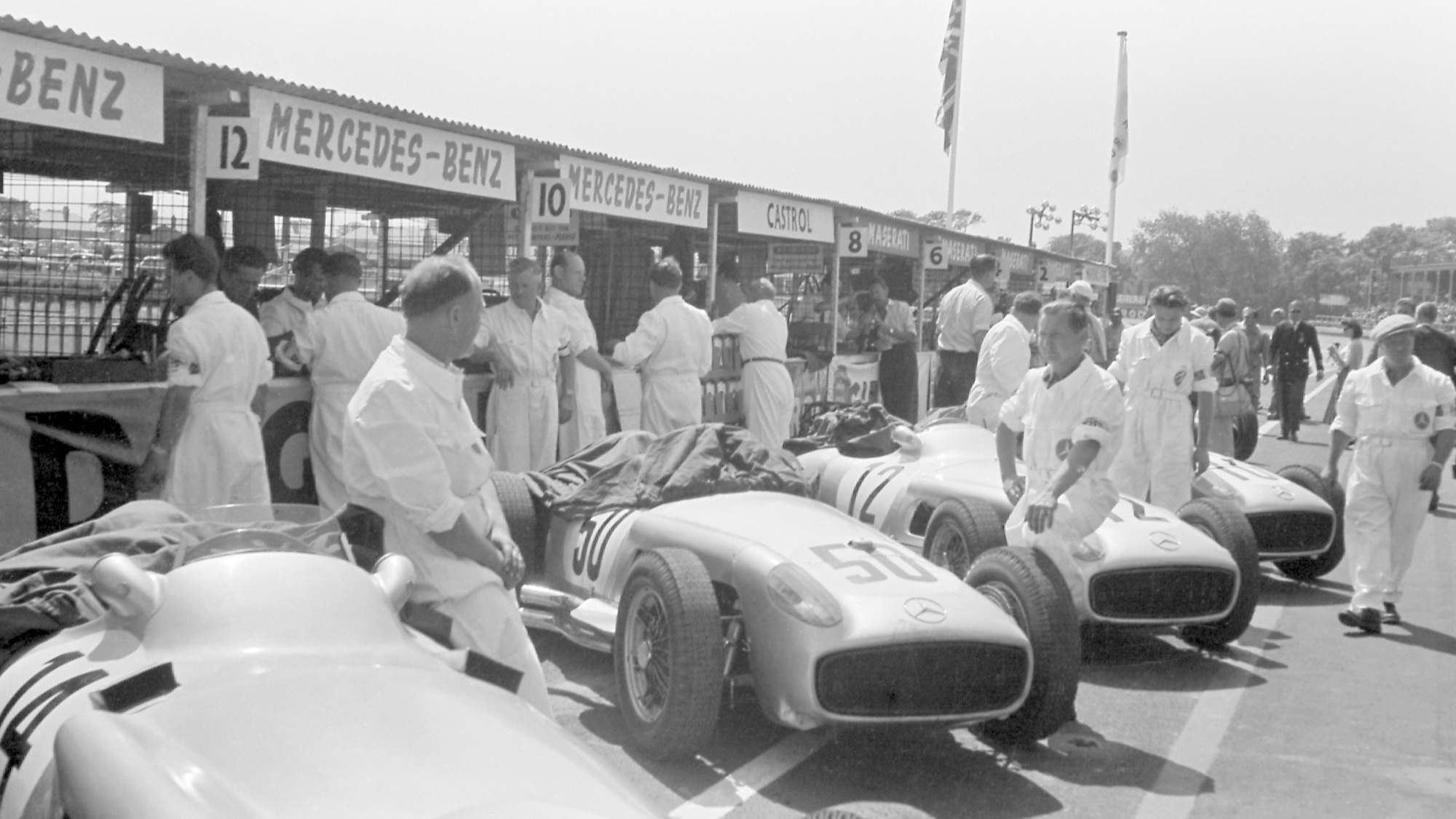 Mercedes cars in the pits ahead of the 1955 British Grand Prix at Aintree